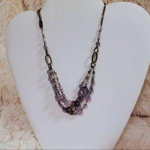 Vintage Purple Glass Beaded Gunmetal Tone Necklace